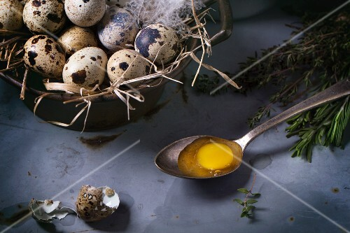 Quail eggs in vintage bowl lined with straw and feathers with an egg yolk on spoon next to it