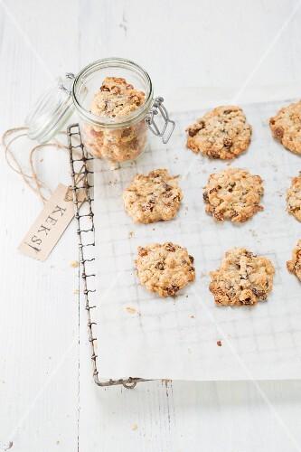 Muesli biscuits on baking paper