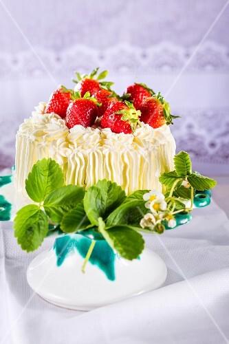 A strawberry cream cake