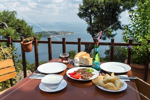 Turkish kofta with a view of the sea