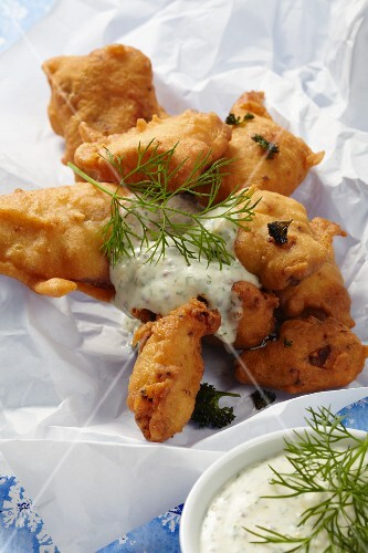 Baked herring in beer batter with a honey, mustard and dill sauce