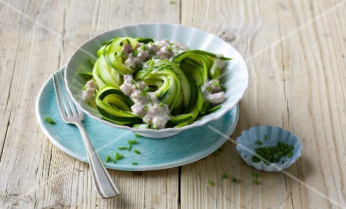 Courgette pasta with a ham and cream cheese sauce