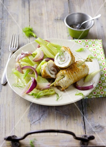 Turkey involtini with a fennel and onion medley