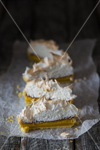 Slices of lemon meringue pie