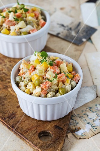 Traditional Polish vegetable salad with mayonnaise