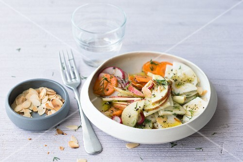 Apple and turnip salad with radishes and carrots