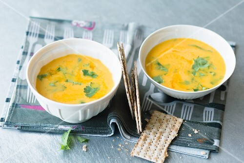 Pineapple and pumpkin cream with Thai curry paste and coriander