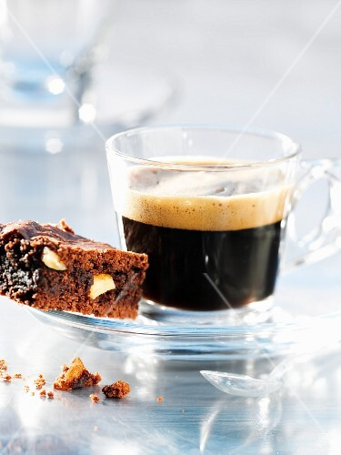 A brownie and a coffee