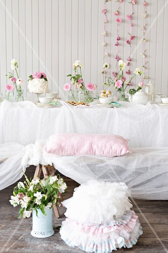 Romantic buffet with cake and biscuits
