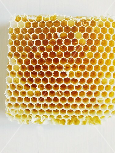 A honeycomb on a white surface (seen from above)