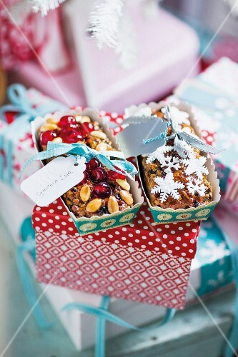 Homemade fruitcakes as Christmas presents