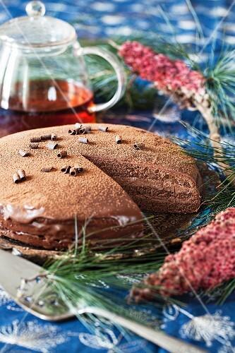Chocolate cake with chocolate cream