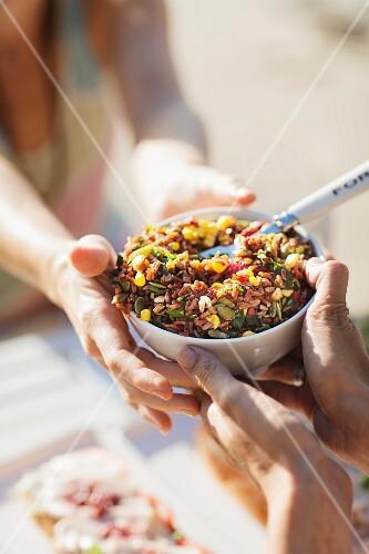 Rice salad with sweetcorn
