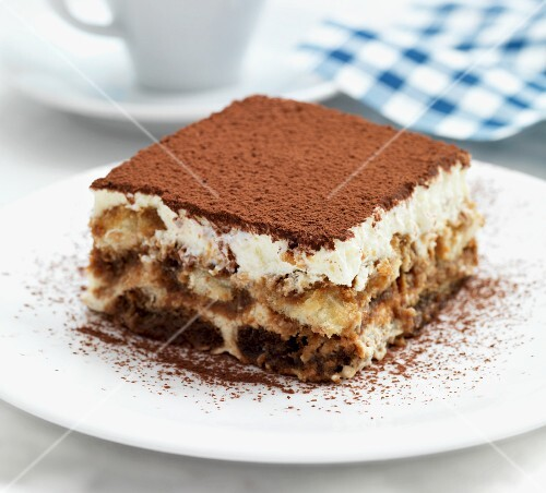 A serving of tiramisu on a plate