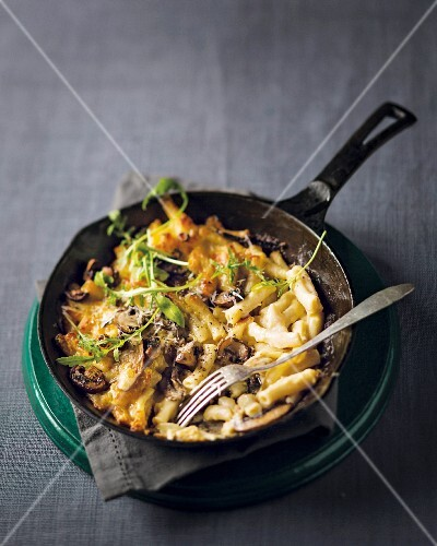 Macaroni and cheese with truffles in a pan