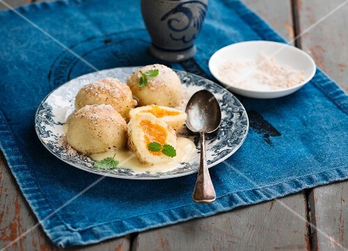 Sweet dumplings with yellow plum jam