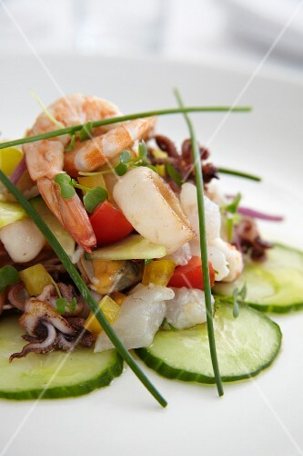 Seafood salad with cucumber