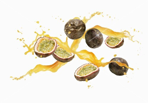 Passion fruits with a splash of juice