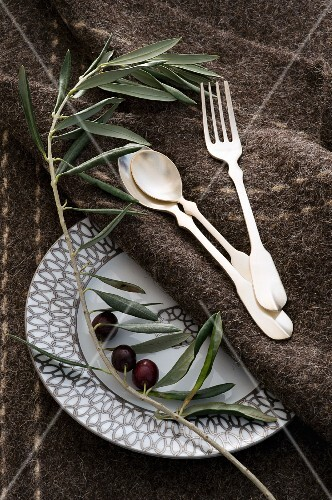 Hermes plate with silver cutlery and an olive sprig on a brown woollen rug