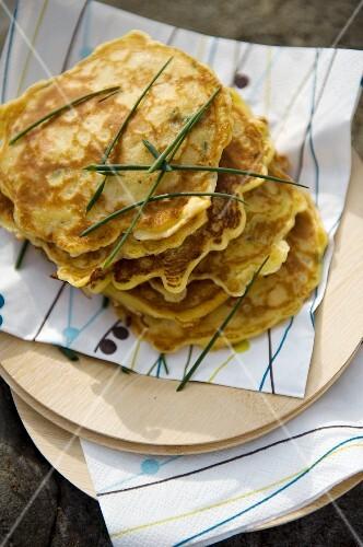 Mini chive pancakes
