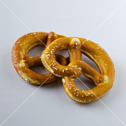 Two butter lye bread pretzels