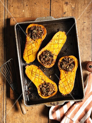 Stuffed butternut squash (seen from above)