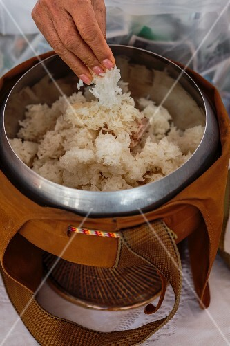 Sticky rice in a Buddhist sacrifice bowl (Vientiane, Laos)
