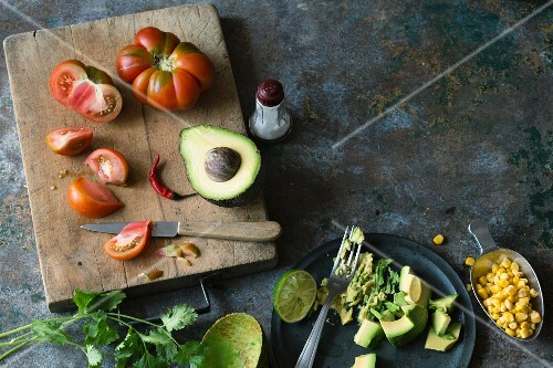 ingredients for guacamole with sweetcorn