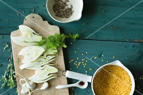Ingredients for lentil and fennel spread with garlic