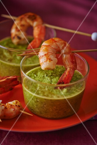 Prawns with a green curry dip