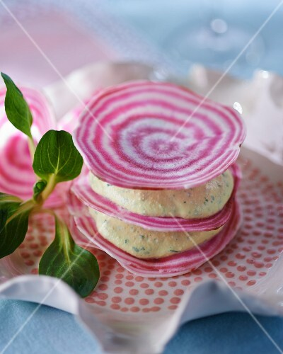 Mille feuilles with beetroot and egg salad