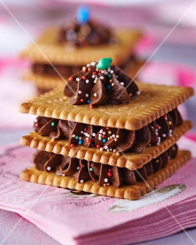 Mille feuilles made with butter biscuits and chocolate cream with sugar pearls