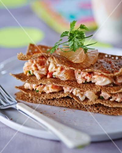 Mille feuilles with crayfish and grapefruit