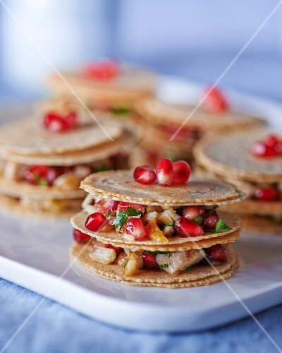Mille feuilles with mackerel and pomegranate seeds