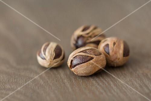 Nutmegs in dried flowers