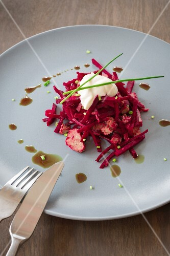 Beetroot salad with prime boiled beef with pumpkin seed oil, chives and crème fraîche