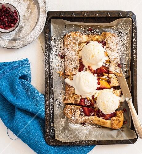 Fruit tart with vanilla ice cream