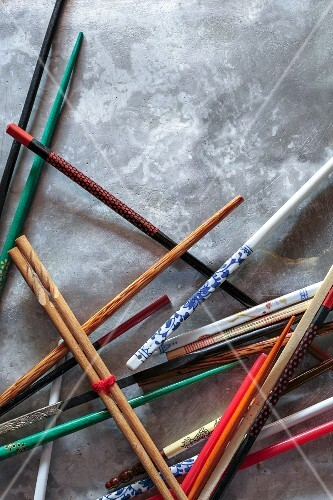 Various chopsticks on a tray