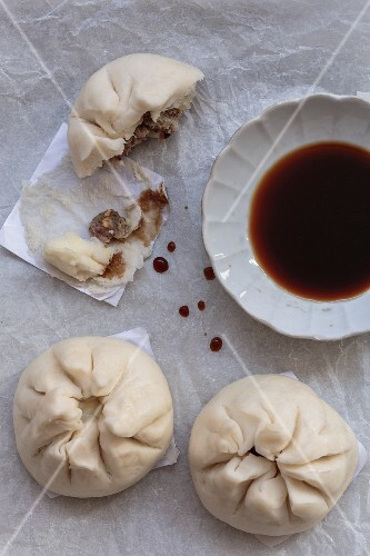 Steamed pork dumplings with soy sauce