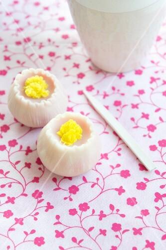 Wagashi camellias (Japanese sweets)