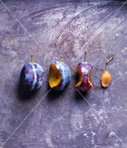 Fresh plums; whole, semi-eaten and stone