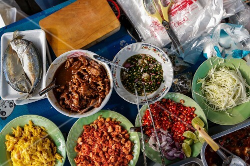 Various ingredients in a street kitchen (Bangkok, Thailand)