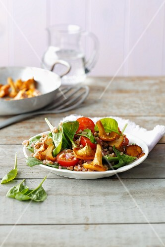 Spelt and spinach salad with fresh chanterelle mushrooms