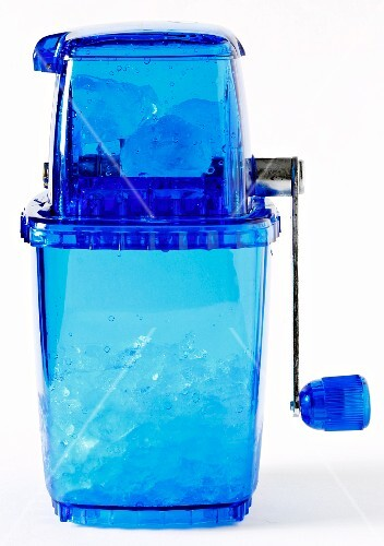 A blue ice crusher