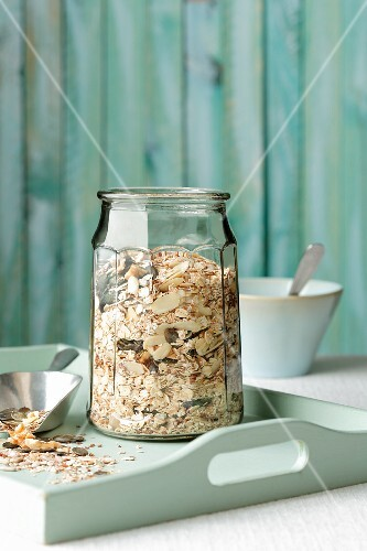 Homemade muesli with cereal flakes and various seeds