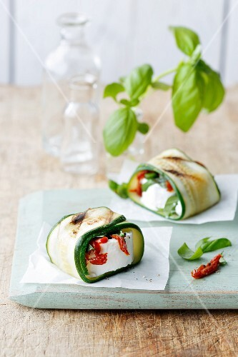 Courgette parcels filled with goat's cheese and dried tomatoes