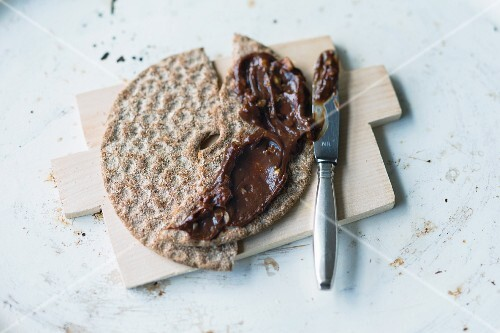 A chocolate spread on crispbread