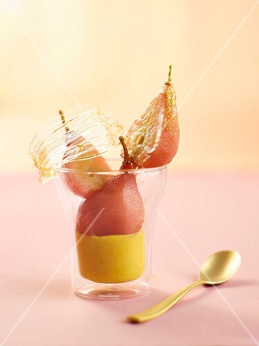 Sabayon with poached pears and sugar threads