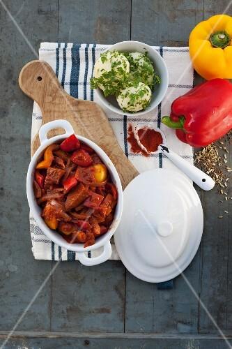 Vegan seitan and pepper goulash