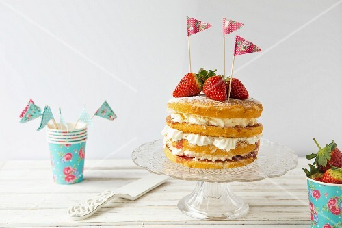 Victoria sponge cake from a children's birthday party